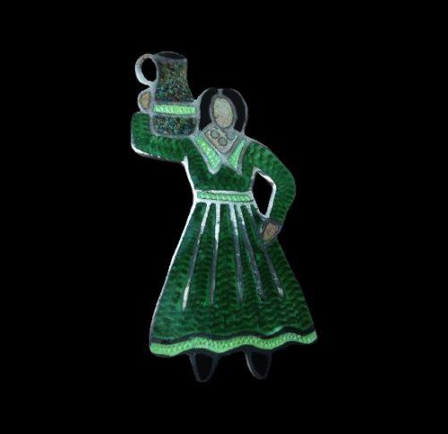 Woman with a jug brooch. Sterling silver, enamel