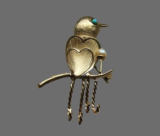 Wren bird hearts body brooch pin. Sterling Silver, 12K gold, turquoise eye