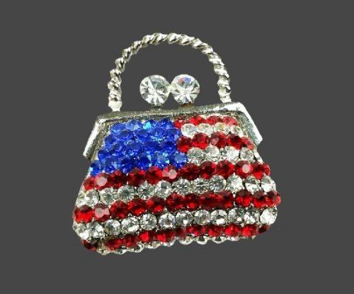 American flag patriotic purse. Silver tone alloy, rhinestones