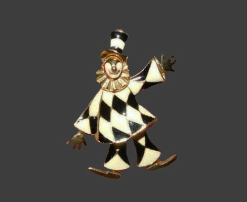 Articulated figural black and white enamel gold tone clown brooch pin