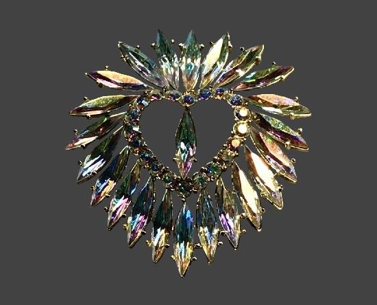 Aurora borealis crystal heart shaped vintage brooch