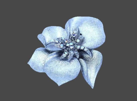 Aurora borealis rhinestones silver tone flower design brooch