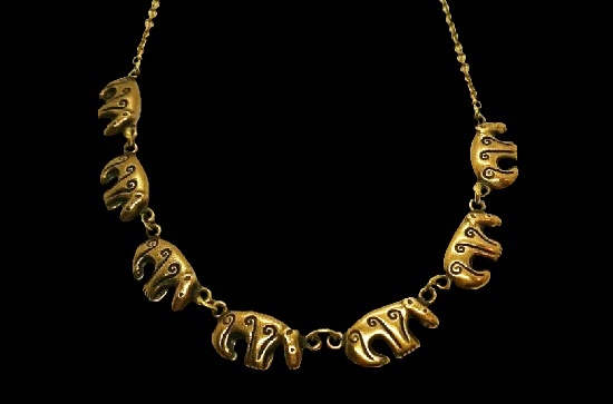 Bear chain bronze necklace