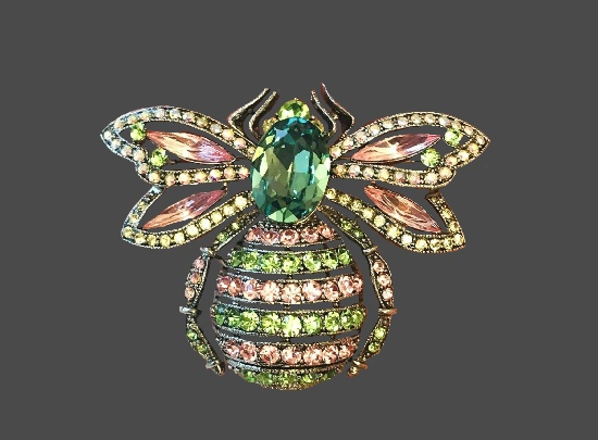 Bee brooch pin. 6.5 cm. 1990s. Metal alloy, rhinestones, Swarovski crystals