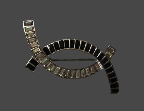 Black enamel clear rhinestones silver tone brooch