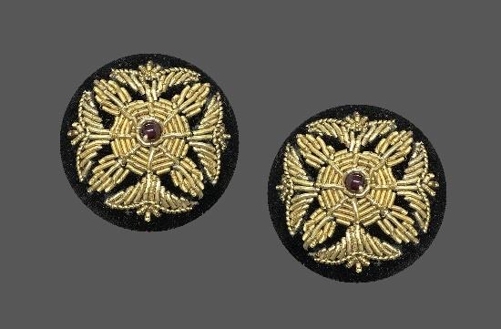 Black velvet gold tone beaded pierced earrings. 1980s