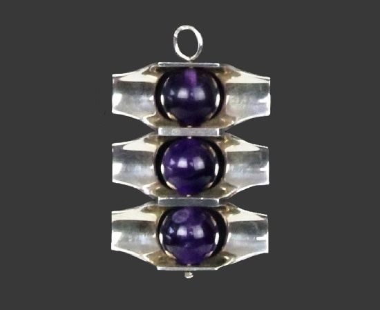 Blue amethyst modernist design sterling silver pendant. 4 cm