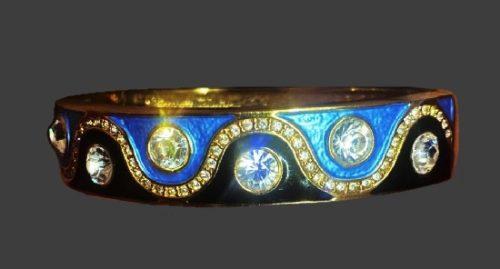Blue and black enamel clear rhinestone bracelet