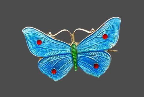 Blue butterfly brooch. 925 sterling silver, enamel