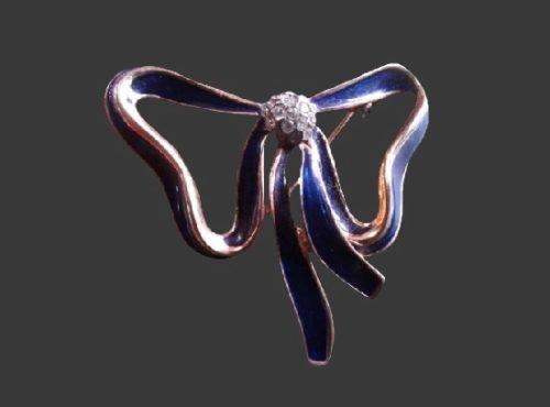 Bow brooch pin. Gold tone, blue enamel, rhinestones. 1980s