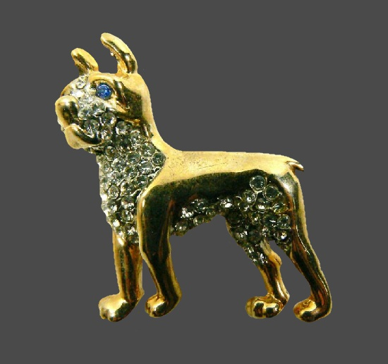 Boxer dog gold tone rhinestones vintage pin