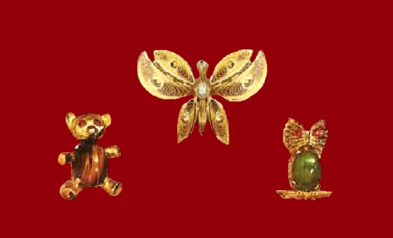 Butterfly, Owl and teddy bear pins. Gold finish on sterling silver, jade. 1970s