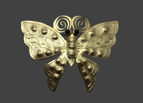 Butterfly gold tone brooch