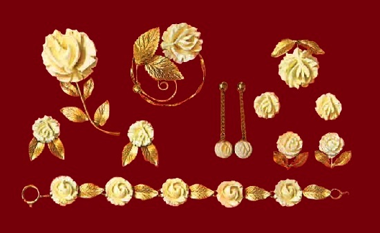 Carved ivory 12 K gold rose accent set of bracelet, brooches, earrings and pendants. 1960s