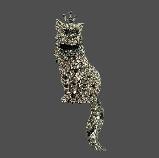 Cat brooch pin. Jewelry alloy, Swarovski crystals. 14.5 cm