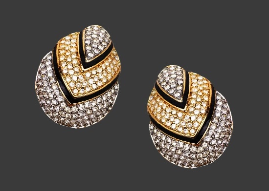 Chevron design egg shaped earrings. Gold and silver tone, pave rhinestones, black enamel