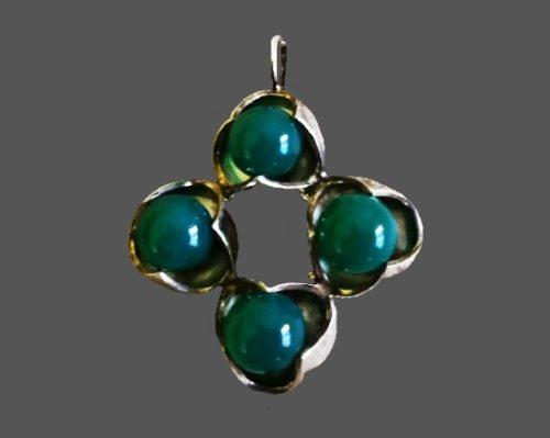 Chrysoprase sterling silver pendant. 4 cm. 1970s