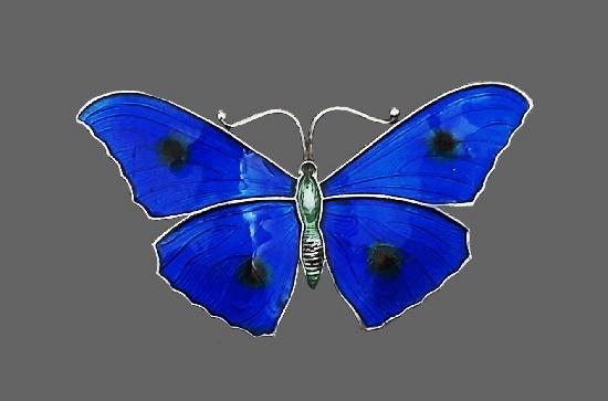 Cobalt blue butterfly brooch. 925 sterling silver, enamel