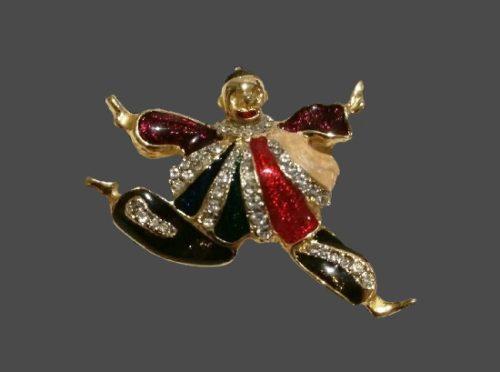 Dancing Clown brooch pin. Gold tone alloy, enamel, rhinestones. 5 cm. 1980s