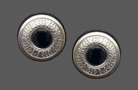 'Decorative Items' collection. Black onyx gold tone textured metal clip on earrings. 1990s