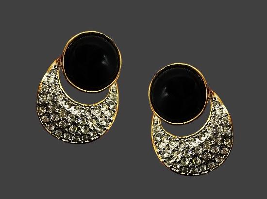 Door knocker design earrings. Black glass, gold tone alloy, rhinestones