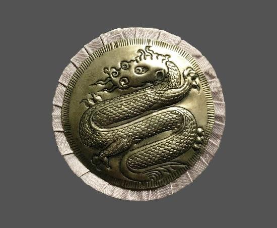 Dragon gold and silver tone pin