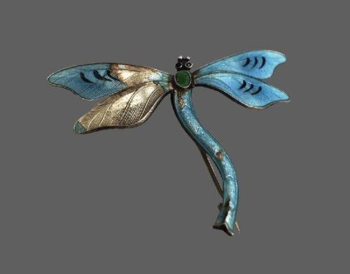Dragonfly brooch. Silver, enamel. 5 cm. 1915