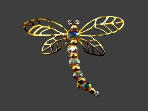 Dragonfly gold tone aurora borealis rhinestones brooch pin