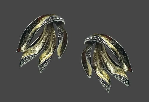 Flame design gold and silver tone screw back earrings