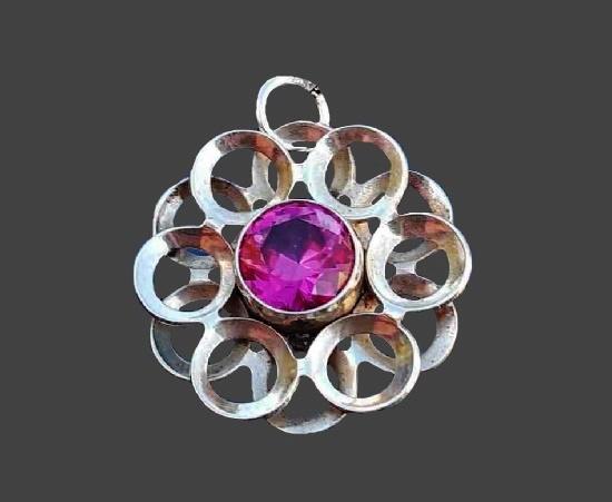 Floral design pendant. 925 sterling silver, crystal. 2 cm