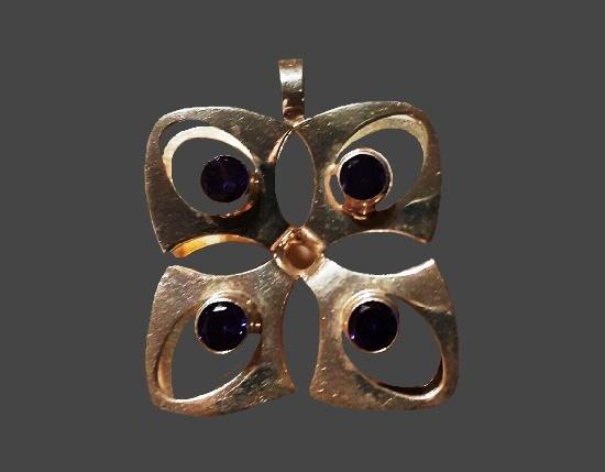 Geometric design pendant. Amethyst, sterling silver. 3.2 cm