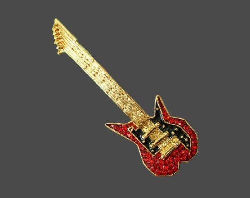 Guitar vintage brooch pin. Gold tone, rhinestones