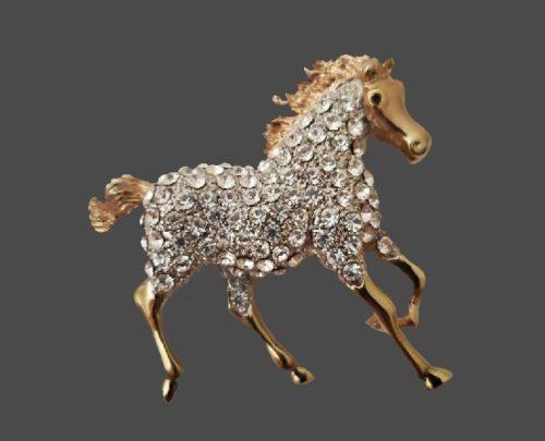 Horse gold tone rhinestones vintage brooch