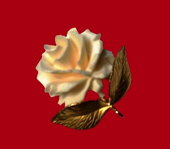 Ivory rose 12 K gold filled brooch