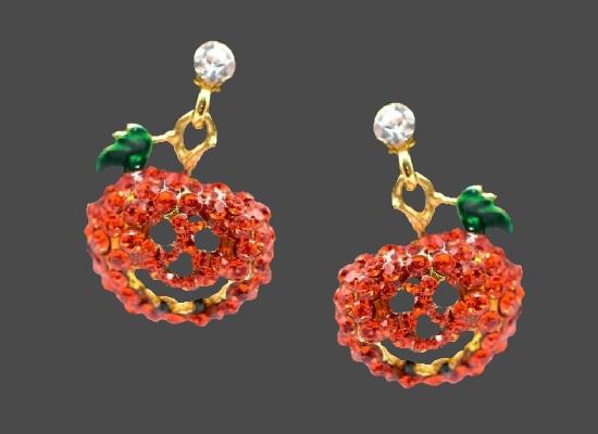 Jack O Lantern Halloween design red rhinestones gold tone earrings
