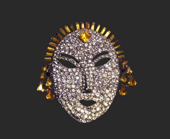 Joseph Wiesner vintage costume jewelry. Jeweled face mask brooch. Silver tone, rhinestones. 1950s