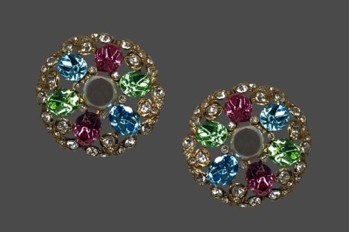 Kaleidoscope Austrian crystal clip on earrings. Fifth Avenue Collection