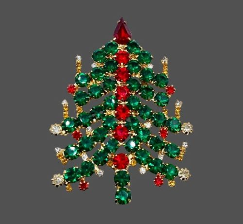 Christmas tree gold tone rhinestones vintage brooch