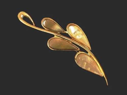Leaf branch design brooch pin. Gold tone alloy, mother of pearl. Fifth Avenue Collection