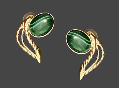 Malachite tone oval glass cabochon gold tone leaf pierced earrings. 1980s