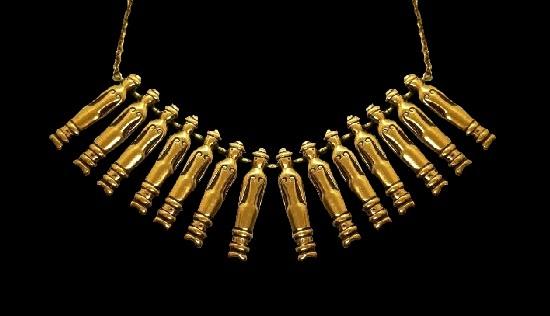 Man Figurine chain bronze necklace