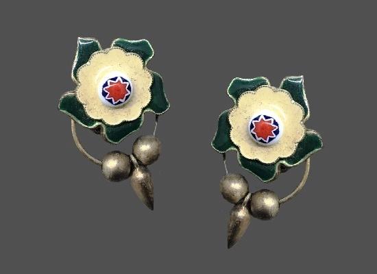 'Mediterranean Tiles' flower design clip on earrings. Silver tone metal, enamel
