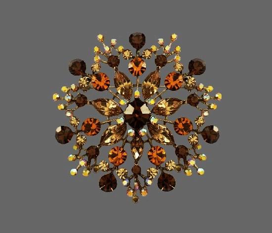 Multicolor rhinestone flower brooch