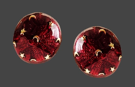 Night sky with moon and stars round shaped wine red enamel gold tone stud earrings