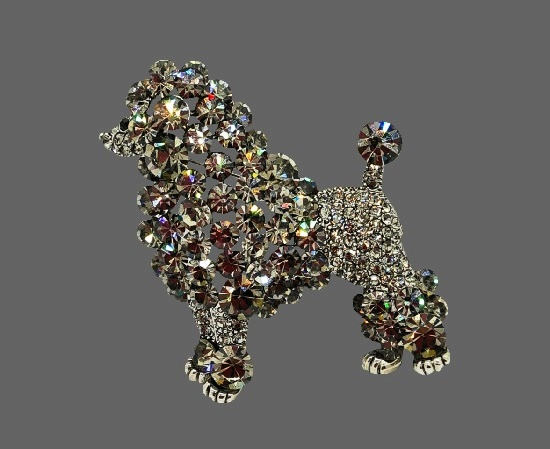 Poodle brooch pin. Silver tone alloy, crystals
