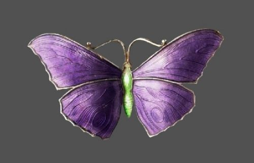 Purple butterfly brooch. 925 sterling silver, enamel. 1918