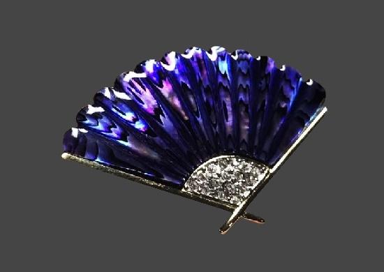 Purple fan brooch pin. Silver tone alloy, rhinestones, abalone