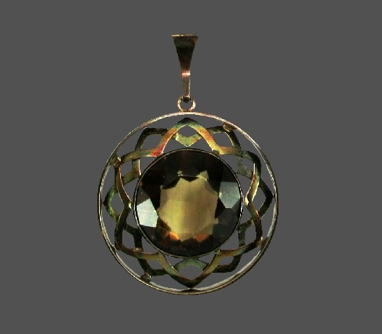 Quartz sterling silver geometric design pendant. 1970