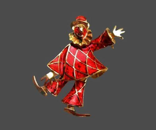 Red enamel gold tone clown brooch