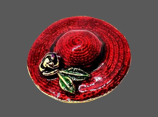 Red enamel hat with rose flower vintage brooch of gold tone